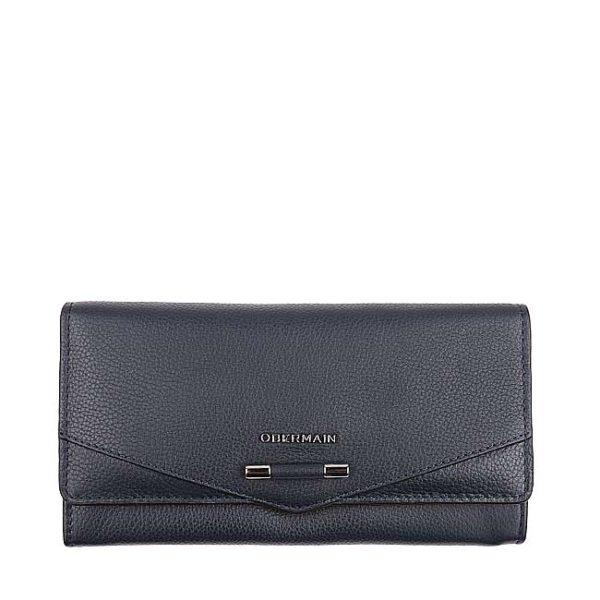 Quin Long Flap Purse In Navy